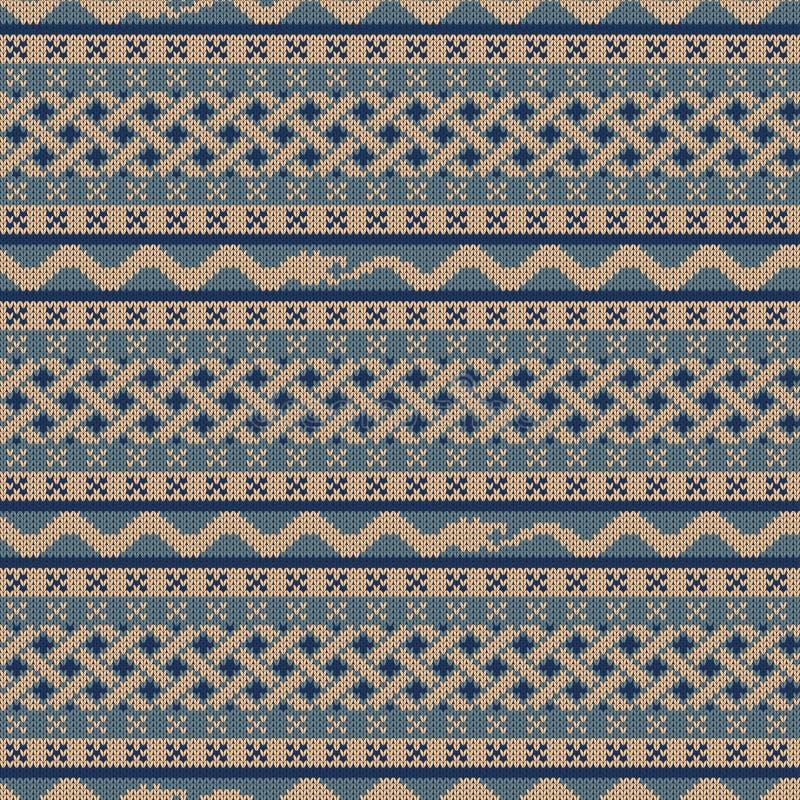 Gebreid naadloos patroon met elementen van de Keltische knoop en een slang die een slangstaart vooruit bijten die vector illustratie