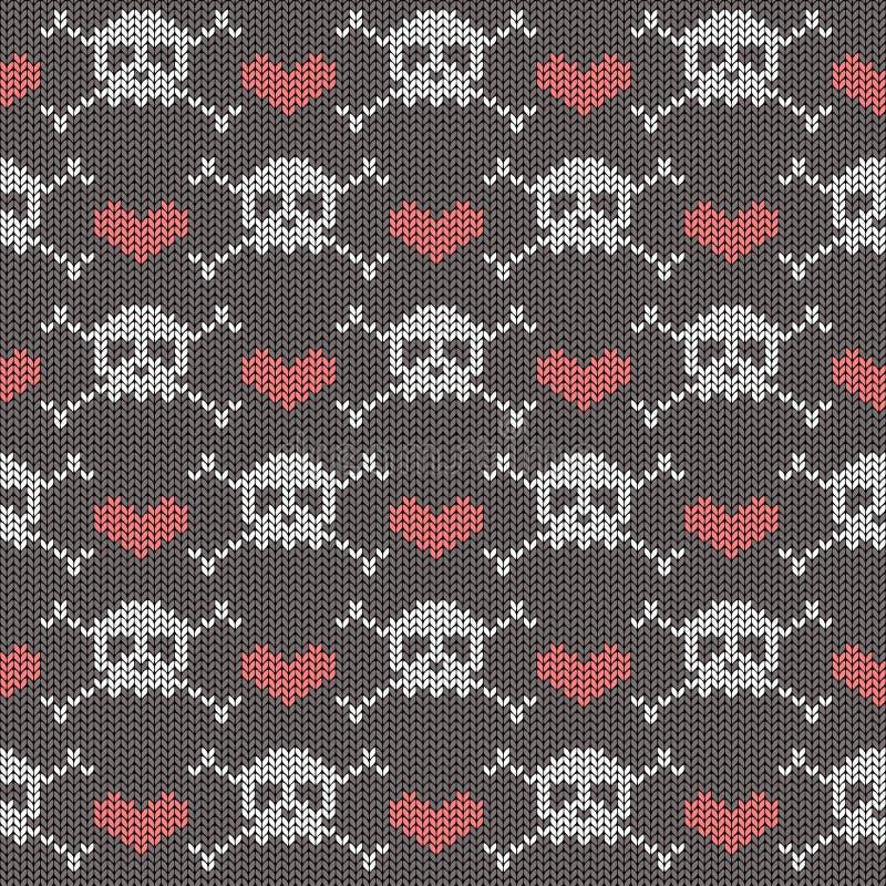 Gebreid naadloos patroon met schedels royalty-vrije illustratie
