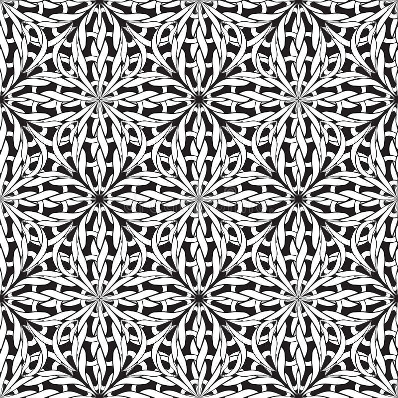 Gebreid naadloos patroon Vector zwart-witte sier gevlechte achtergrond Geweven zwart-wit achtergrond Ingewikkeld brei stock illustratie