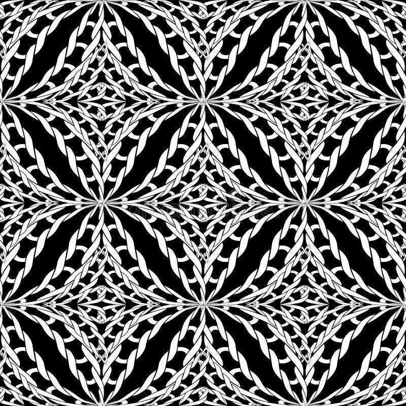 Gebreid naadloos patroon Vector zwart-witte sier gevlechte achtergrond Geweven zwart-wit achtergrond Ingewikkeld brei royalty-vrije illustratie