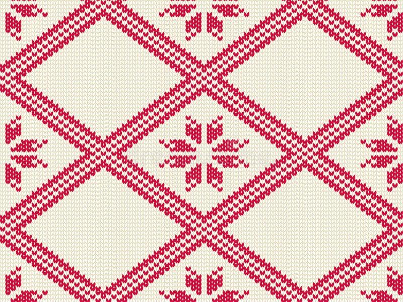 Gebreid naadloos patroon voor sweater De winter achtergrondvector stock illustratie
