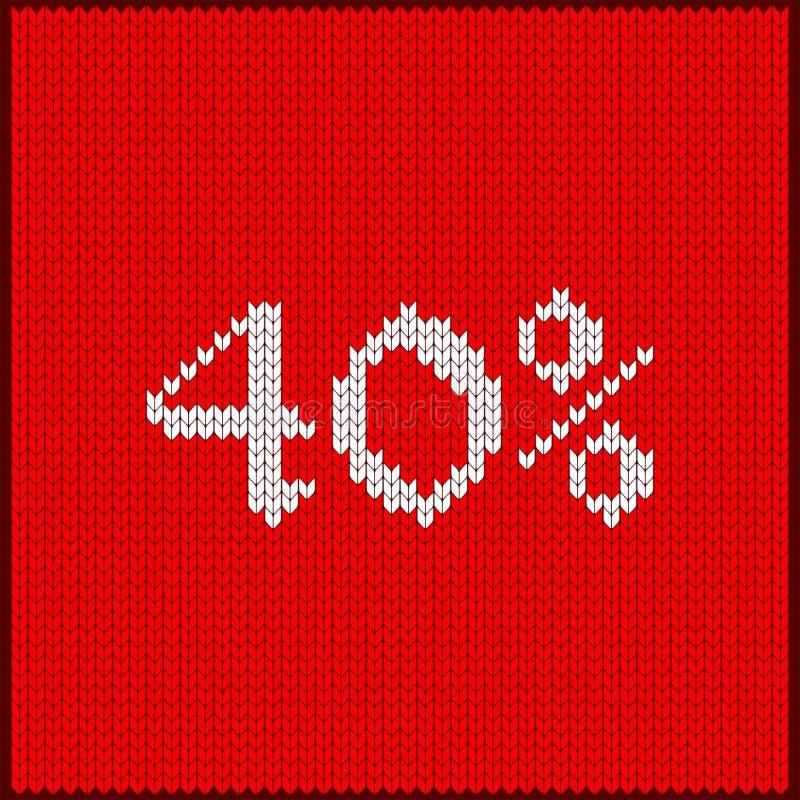 Gebreid nummer veertig percenten vector illustratie