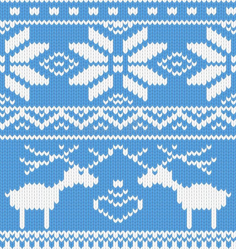 Gebreid patroon met deer.jpg stock illustratie