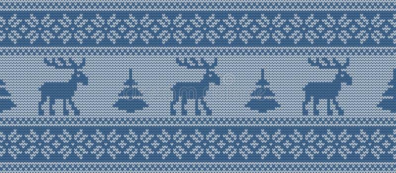 Gebreid patroon met deers en sparren in blauwe kleuren Naadloze grens royalty-vrije illustratie