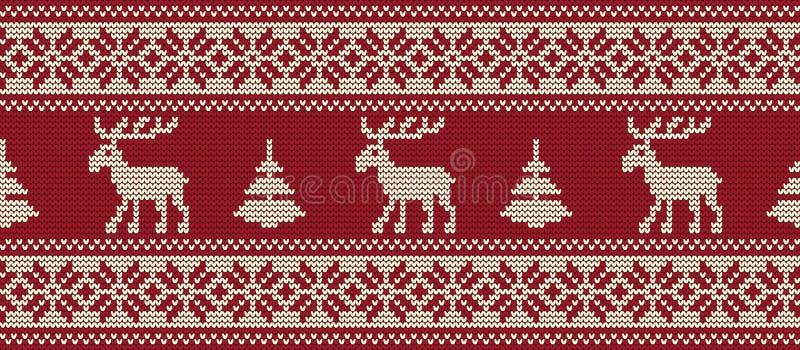 Gebreid patroon met deers en sparren op een rode achtergrond Naadloze grens vector illustratie