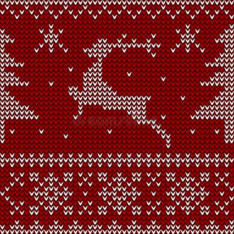 Gebreid patroon met herten, Kerstbomen en sneeuwvlokken vector illustratie