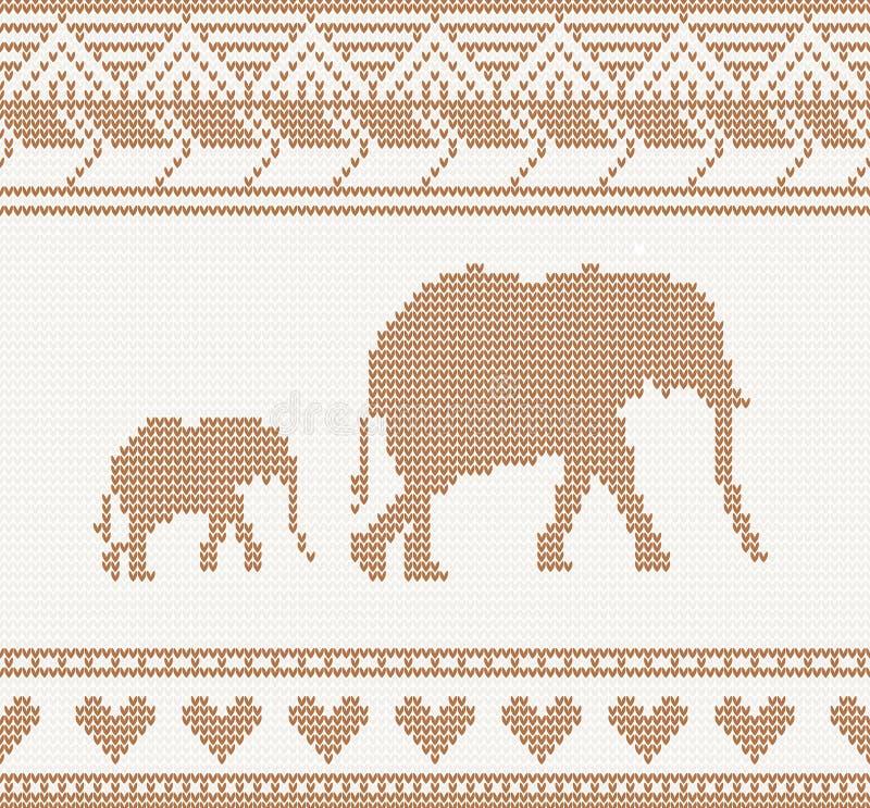 Gebreid patroon met olifant vector illustratie