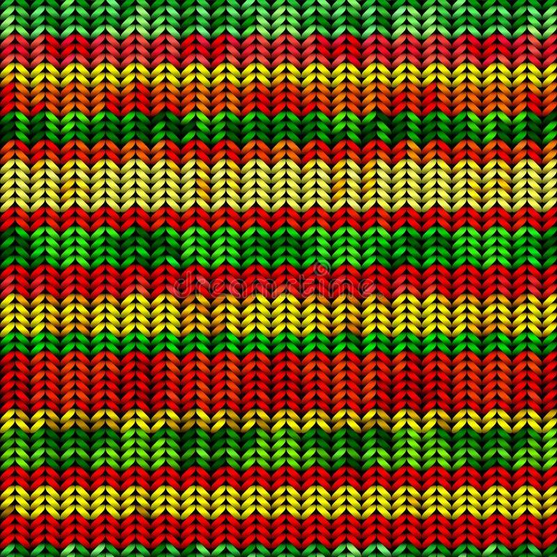 Gebreid patroon met rastafarian strepen royalty-vrije illustratie