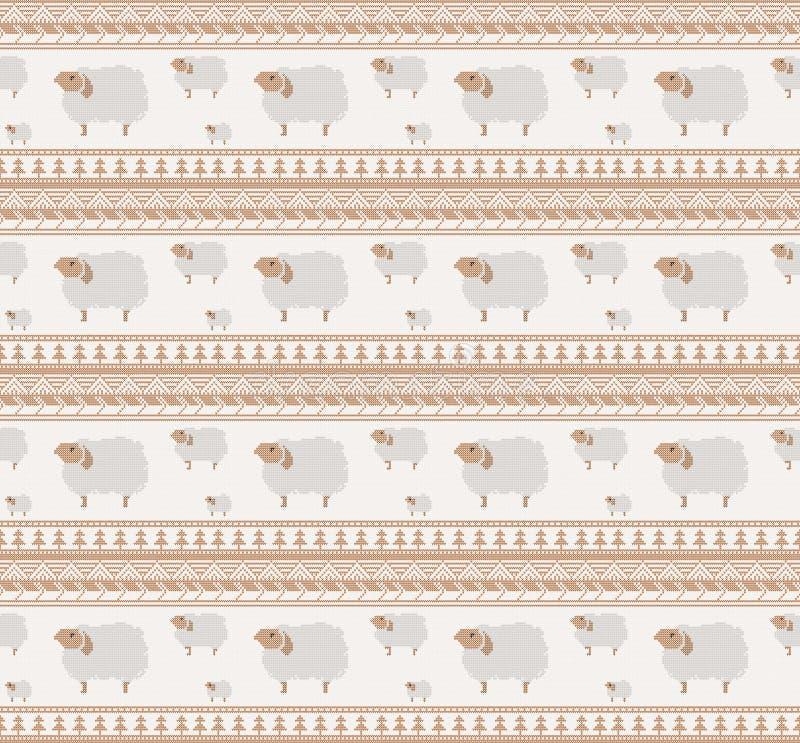 Gebreid patroon met schapen vector illustratie