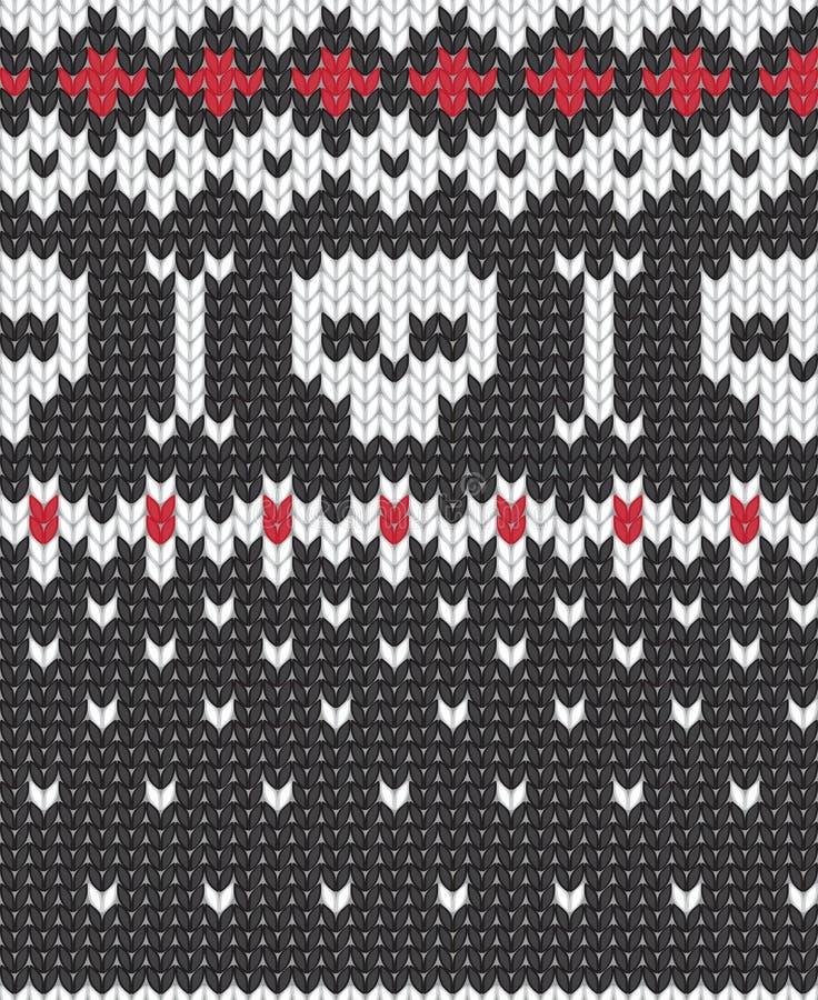 Gebreid patroon met schedels vector illustratie