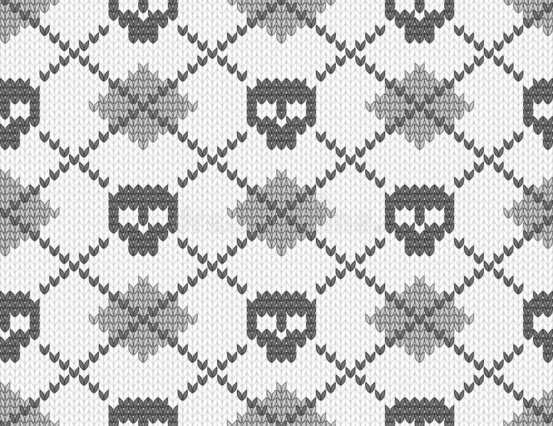 Gebreid patroon met schedels stock illustratie