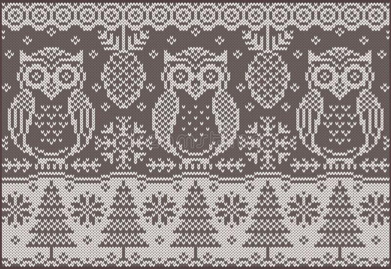 Gebreid patroon met uilen vector illustratie