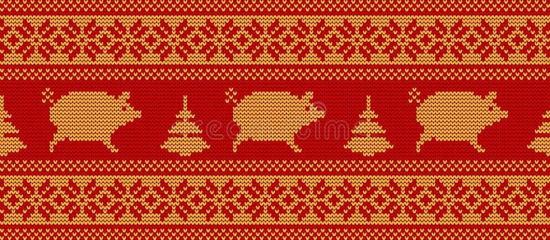 Gebreid patroon met varkens in gele en rode kleuren Naadloze grens vector illustratie