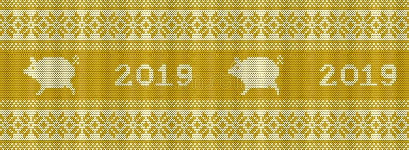 Gebreid patroon met varkens in gele en witte kleuren royalty-vrije illustratie