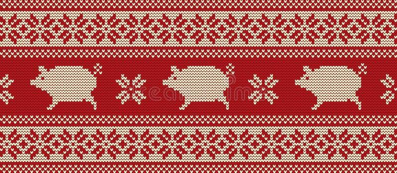 Gebreid patroon met varkens in rode en witte kleuren royalty-vrije illustratie