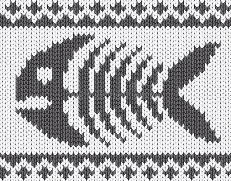 Gebreid patroon met vissenskelet royalty-vrije illustratie