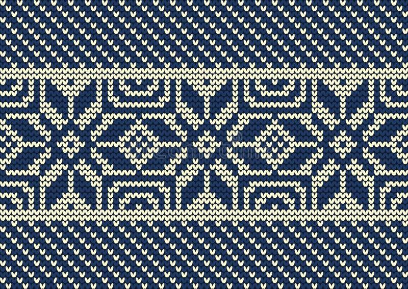 Gebreid patroon op een blauwe achtergrond Naadloze grens stock illustratie