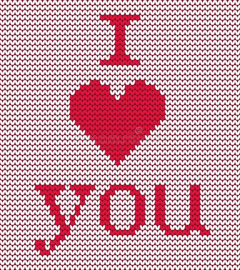 Gebreid patroon Rode hart en tekst` I Liefde u ` op een witte achtergrond stock illustratie