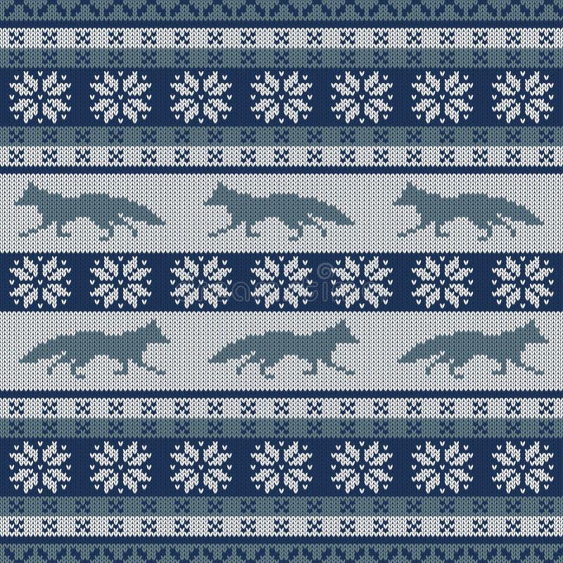 Gebreid Skandinavisch naadloos ornament met een het lopen vos en sneeuwvlokken vector illustratie