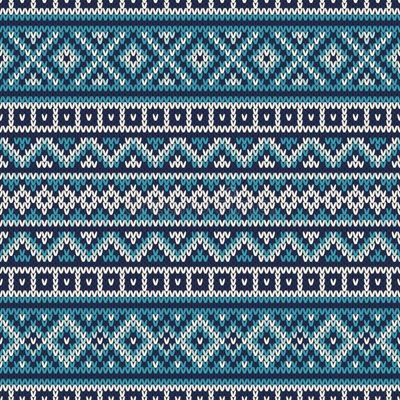Gebreid Sweaterontwerp Eerlijk Eilanden Naadloos Patroon vector illustratie