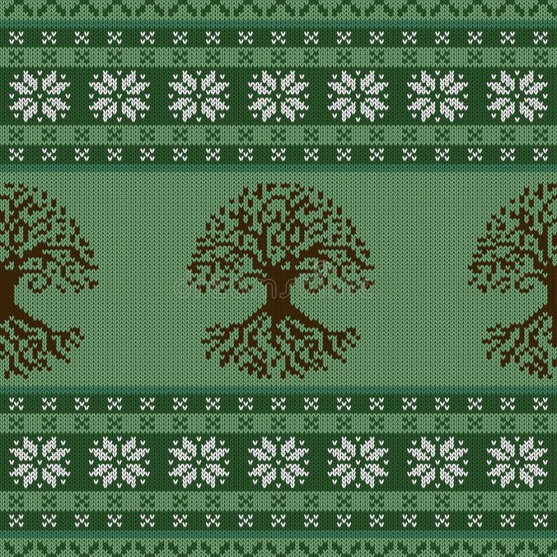 Gebreid wollen naadloos ornament met de Keltische Boom van het Leven en sneeuwvlokken vector illustratie
