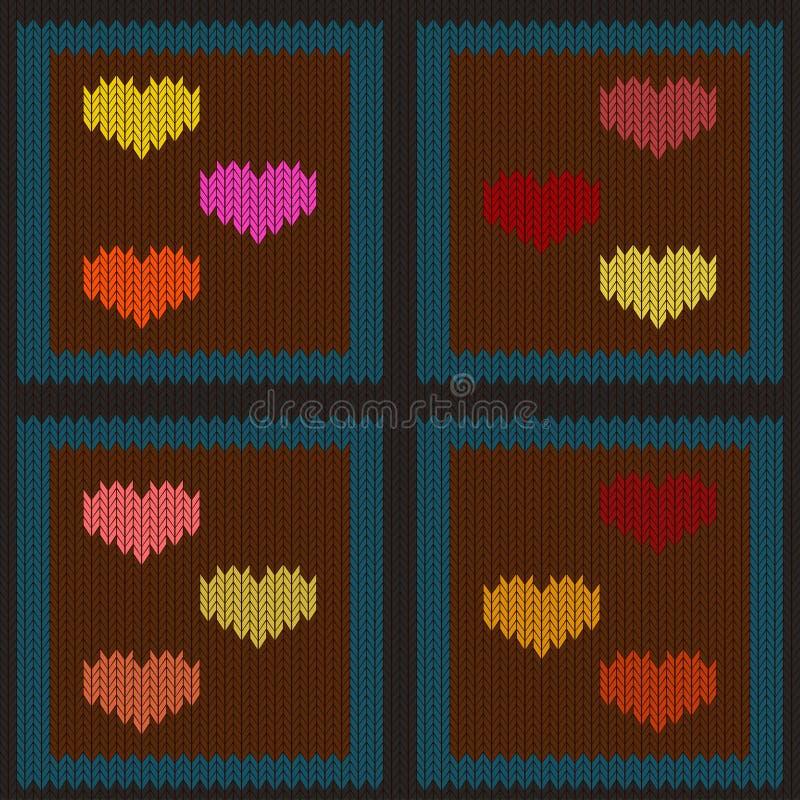 Gebreid wollen naadloos patroon met gekleurde harten in bruine vierkanten stock illustratie