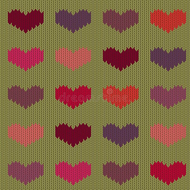 Gebreid wollen naadloos patroon met gekleurde harten op mosterdachtergrond royalty-vrije illustratie