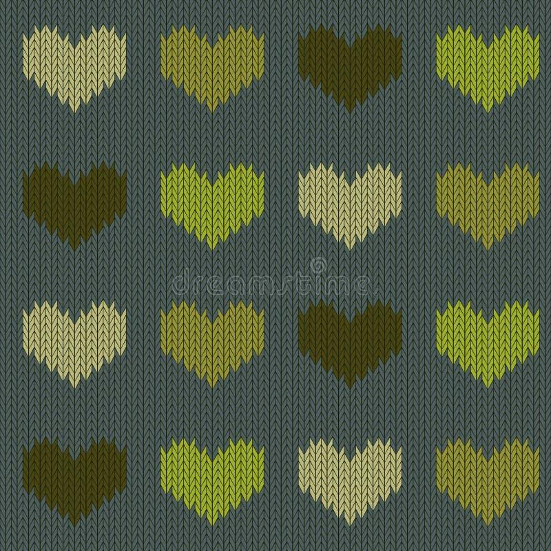 Gebreid wollen naadloos patroon met harten in groene tonen op een naald groene achtergrond stock illustratie