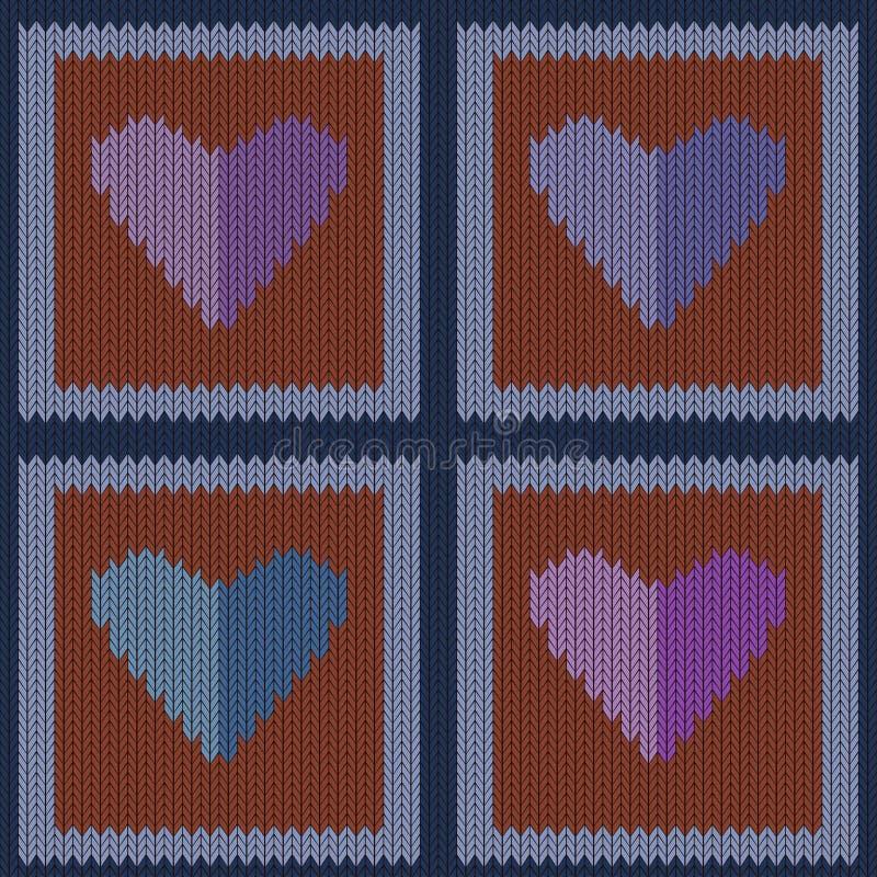 Gebreid wollen naadloos patroon met purpere harten in uitstekende bruine vierkanten vector illustratie
