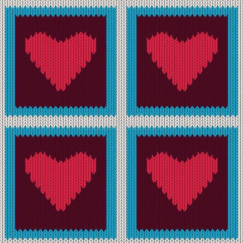 Gebreid wollen naadloos patroon met purpere harten in uitstekende bruine vierkanten royalty-vrije illustratie