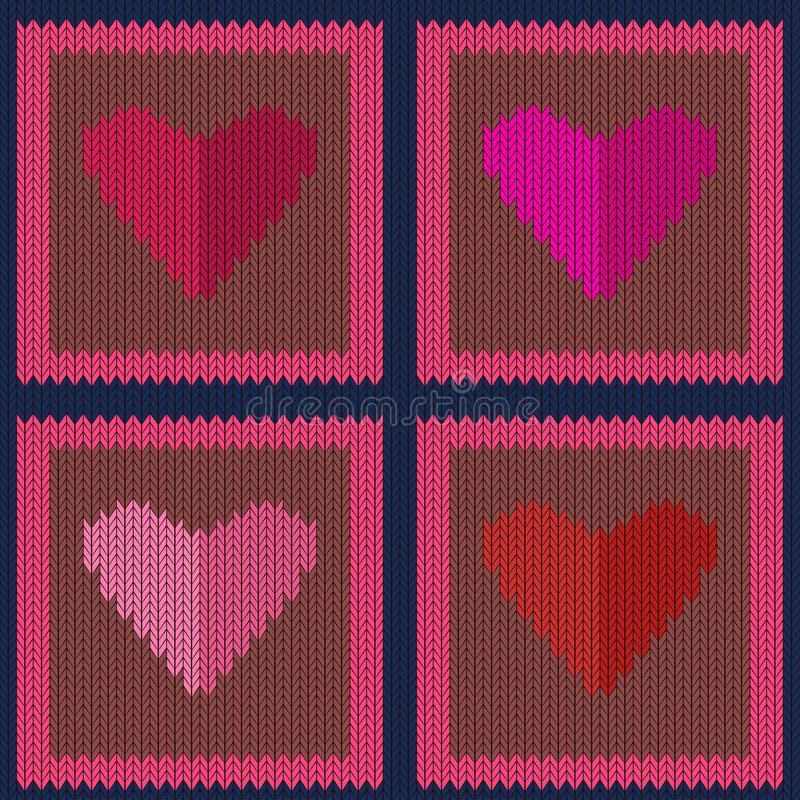 Gebreid wollen naadloos patroon met roze harten in lichtbruine vierkanten vector illustratie