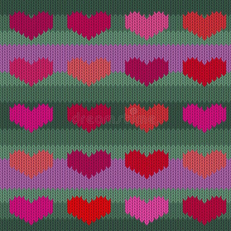 Gebreid wollen naadloos patroon met roze harten op een jadeachtergrond vector illustratie