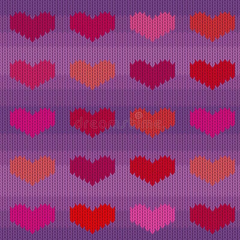 Gebreid wollen naadloos patroon met roze harten op een violette achtergrond vector illustratie