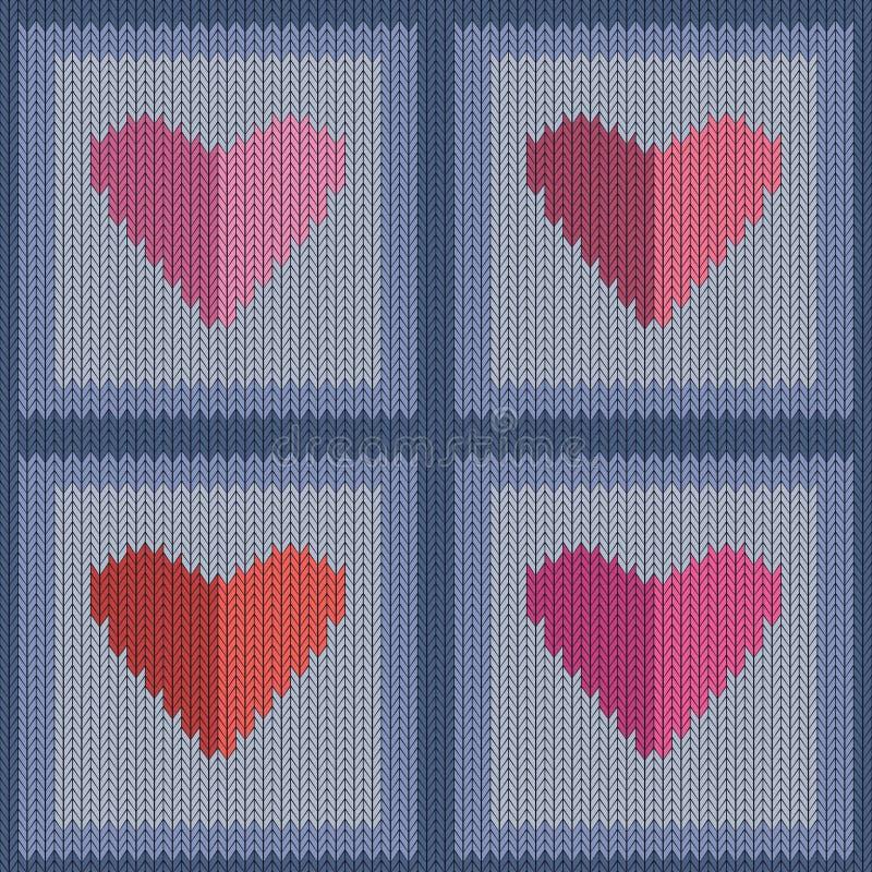Gebreid wollen naadloos patroon met roze harten in uitstekende blauwe vierkanten vector illustratie