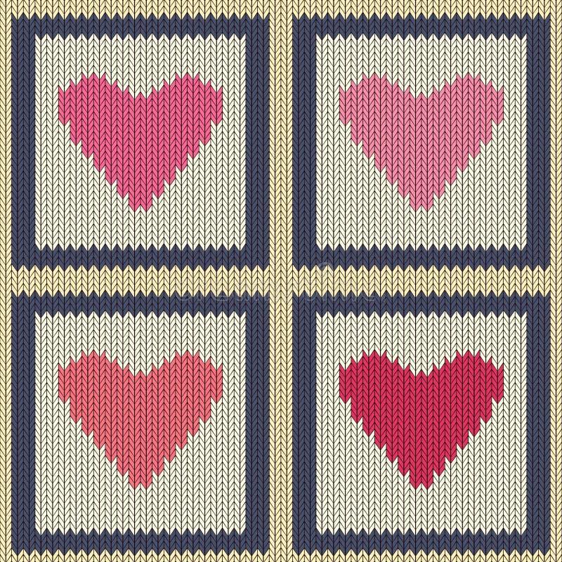 Gebreid wollen naadloos patroon met roze harten in uitstekende vierkanten vector illustratie