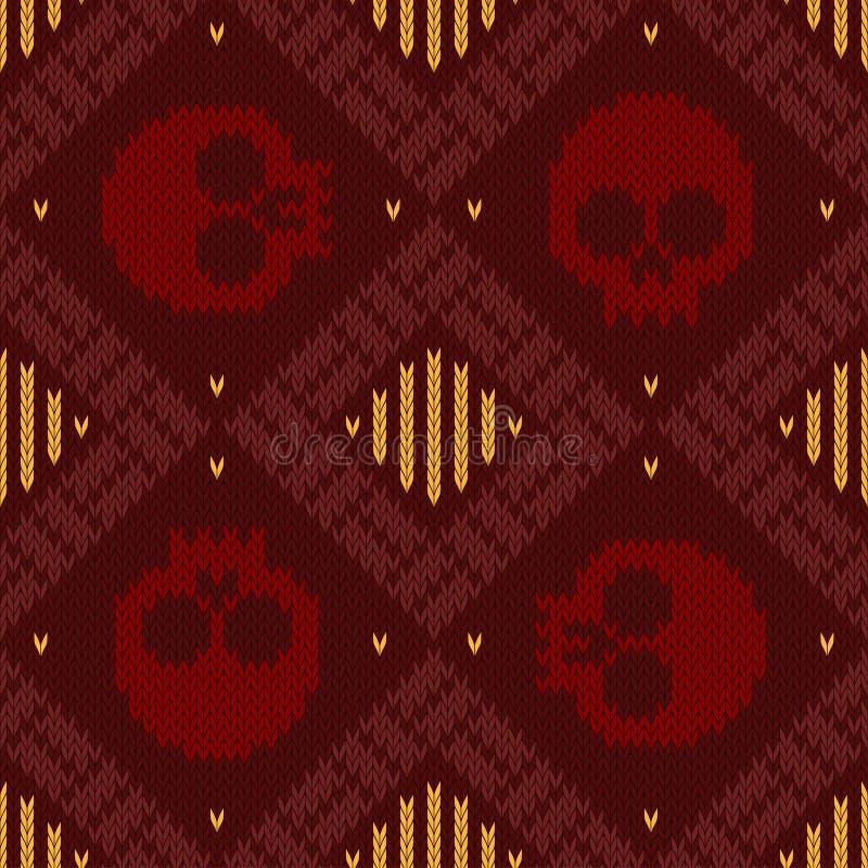 Gebreid wollen naadloos patroon met schedels in rode schaduwen aan de dag van de doden stock illustratie