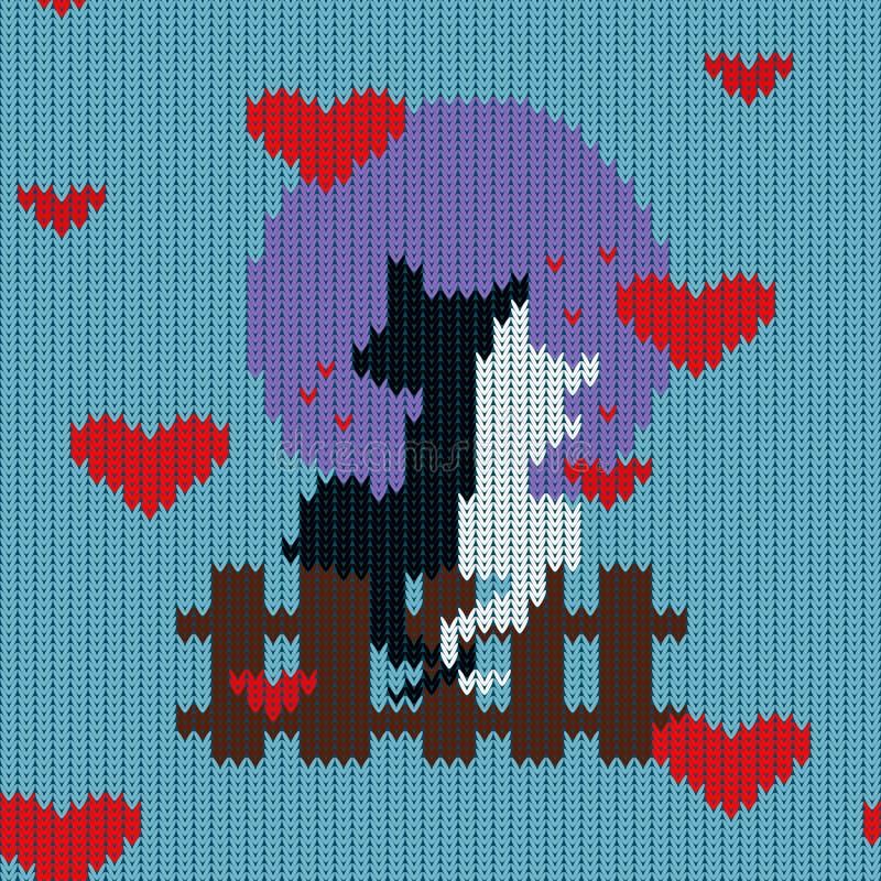Gebreid wollen naadloos patroon voor de Dag van Valentine ` s met katten vector illustratie