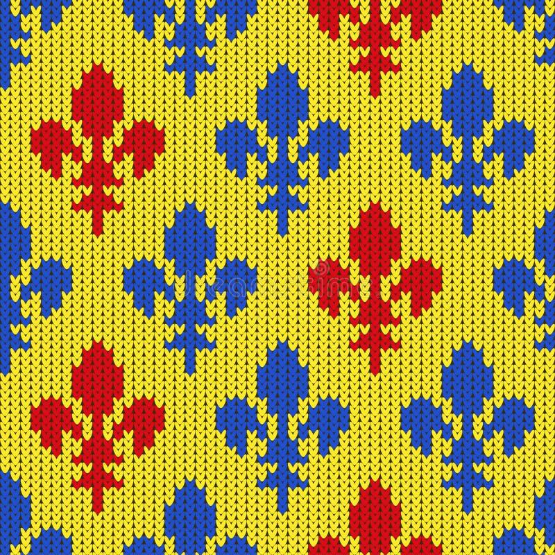 Gebreid wollen patroon met blauwe en rode lelies op een geel vector illustratie