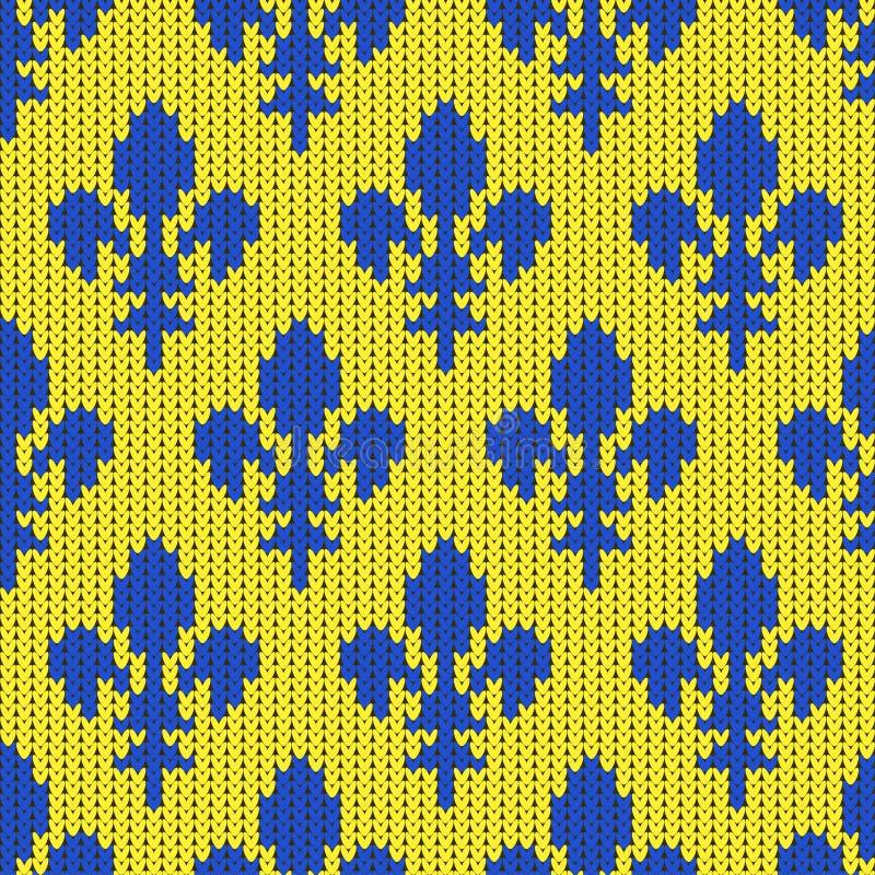 Gebreid wollen patroon met blauwe koninklijke lelies op geel royalty-vrije illustratie