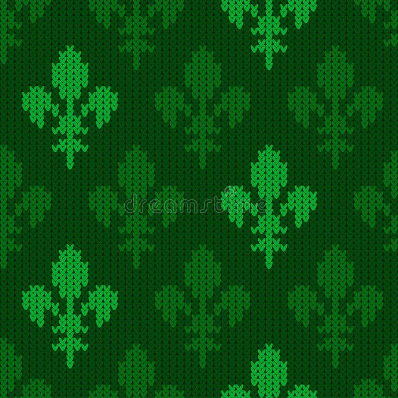 Gebreid wollen patroon met bloem-DE van groene tonen vector illustratie