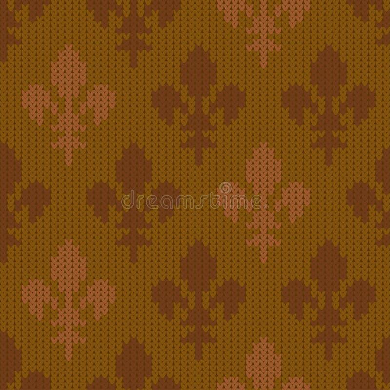 Gebreid wollen patroon met fleur-DE-lis in mosterd uitstekende stijl stock illustratie