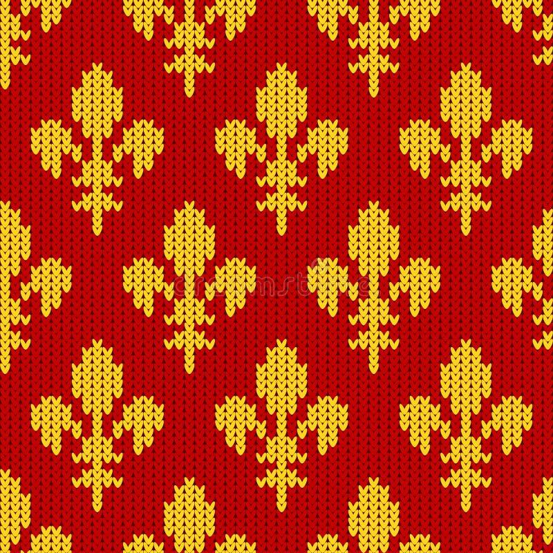 Gebreid wollen patroon met gouden koninklijke lelies op rood vector illustratie