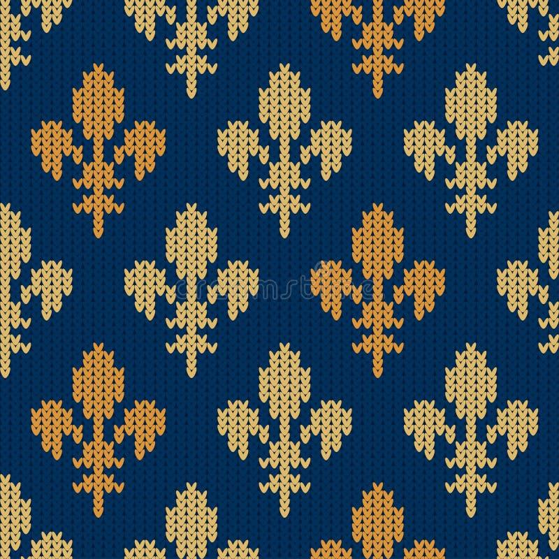 Gebreid wollen patroon met heraldische gouden koninklijke lelies op blauw vector illustratie