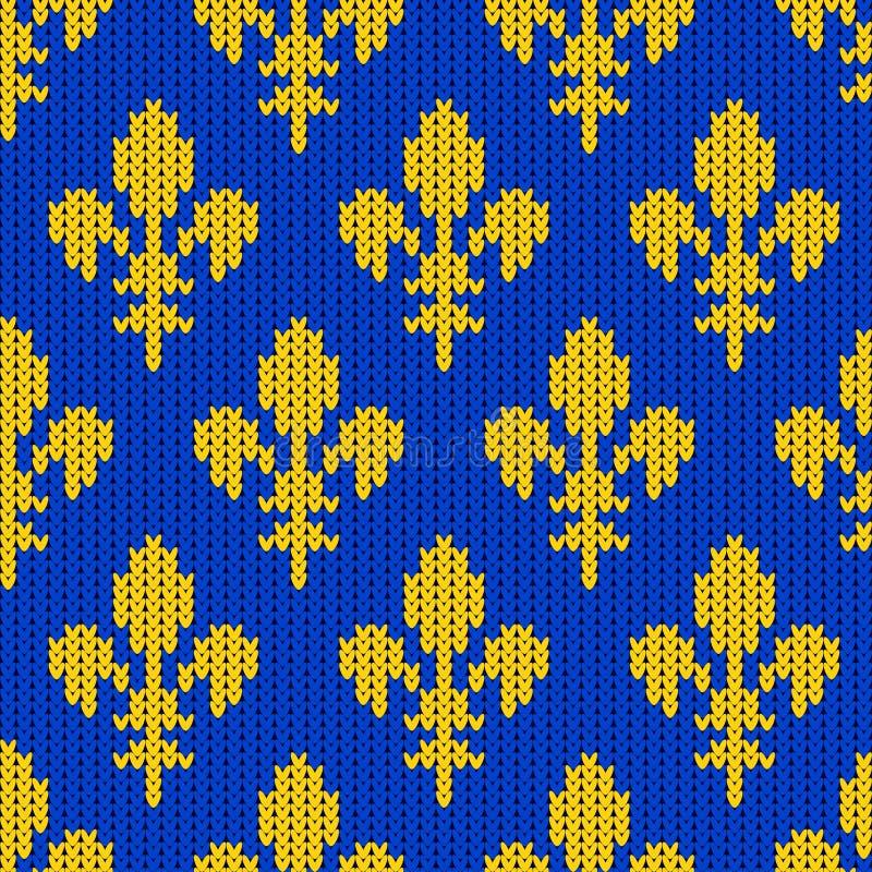 Gebreid wollen patroon met klassieke koninklijke lelies op een blauwe achtergrond royalty-vrije illustratie