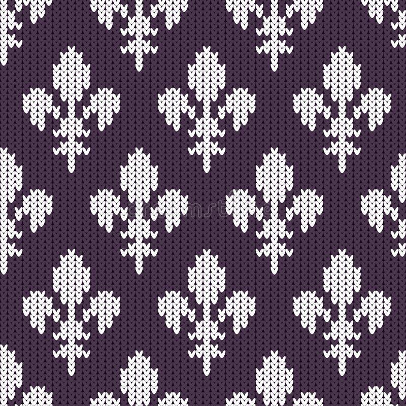 Gebreid wollen patroon met witte koninklijke lelies op purple royalty-vrije illustratie