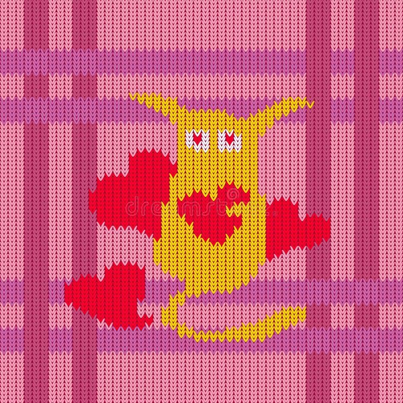 Gebreid wollen patroon van de Dag van Valentine ` s vector illustratie