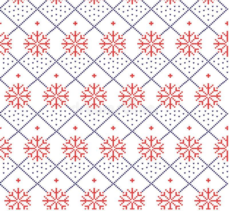 Gebreid wollen van het de winter feestelijke Kerstmis gebreide patroon stock illustratie