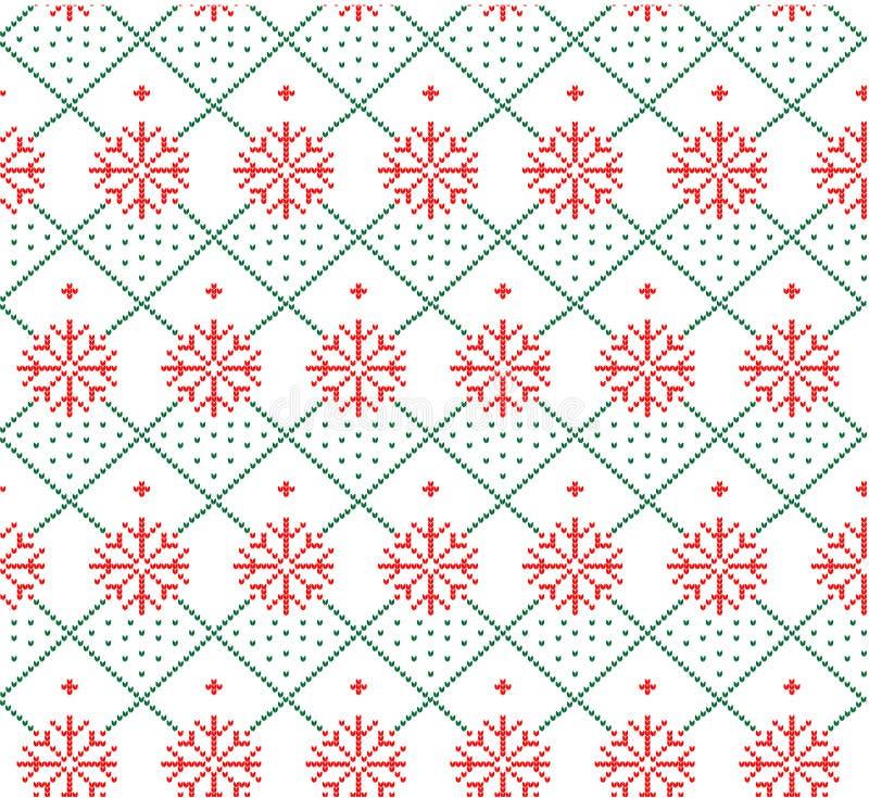 Gebreid wollen van het de winter feestelijke Kerstmis gebreide patroon vector illustratie