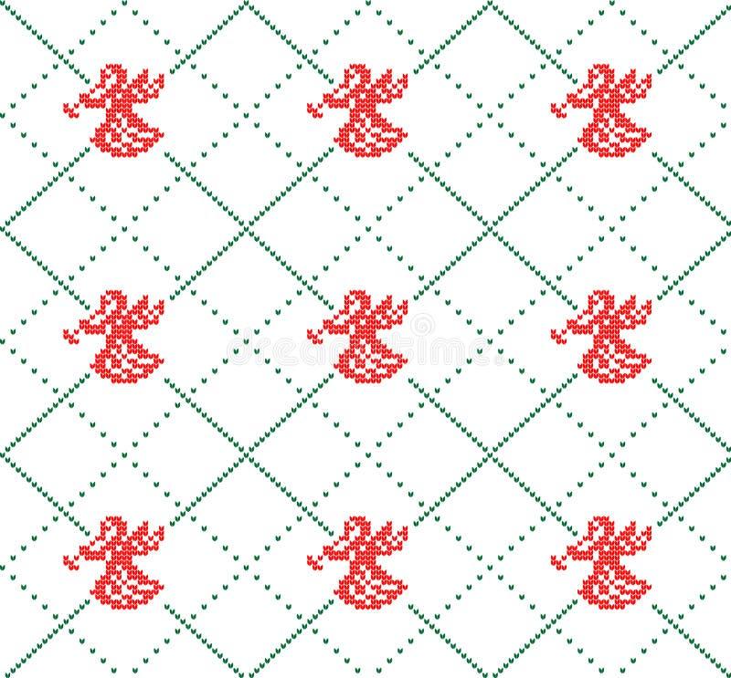 Gebreid wollen van het de winter feestelijke Kerstmis gebreide patroon royalty-vrije illustratie