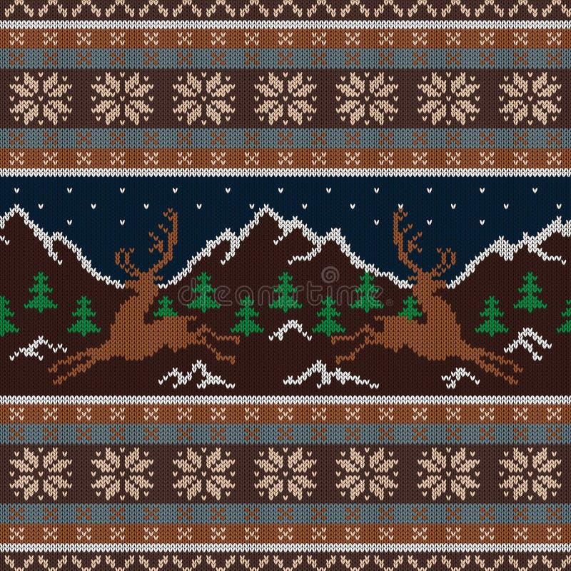 Gebreid woltapijtwerk met deers op een achtergrond van snow-capped bergen en een sterrige hemel stock illustratie